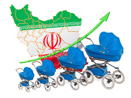 Growing birth rate in Iran, concept. 3D rendering isolated on white background