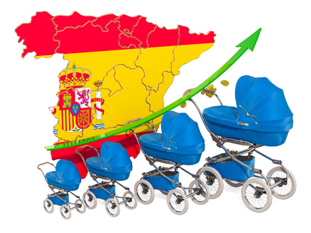 Growing birth rate in Spain, concept. 3D rendering isolated on white background