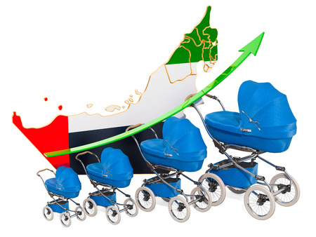 Growing birth rate in the United Arab Emirates, concept. 3D rendering isolated on white background