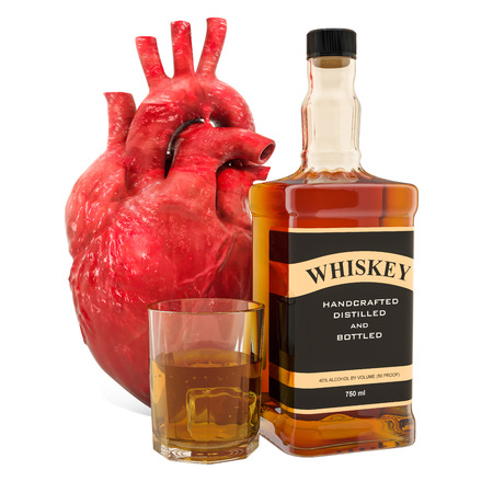 Alcohol and heart disease concept, human heart with alcohol drink. 3D rendering isolated on white background