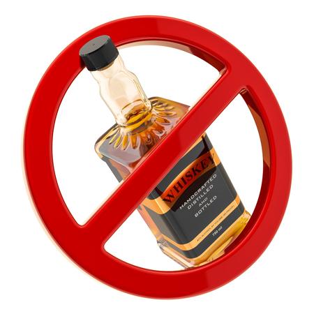 Concepto de prohibición de alcohol. Botella de whisky dentro de signo prohibido, representación 3D aislada en el fondo blanco Foto de archivo