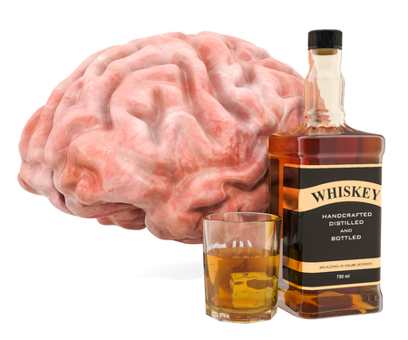 Brain and alcohol drink, alcohol-related brain damage concept. 3D rendering isolated on white background Stock Photo