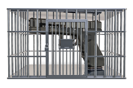 Cage, prison cell with gun, 3D rendering isolated on white background Stock Photo
