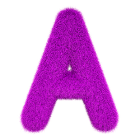 Colored, fluffy, hairy letter A. 3D rendering isolated on white background
