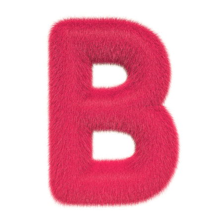 Colored, fluffy, hairy letter B. 3D rendering isolated on white background