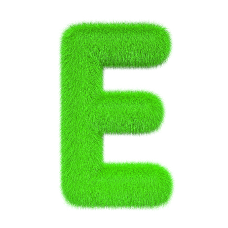 Colored, fluffy, hairy letter E. 3D rendering isolated on white background