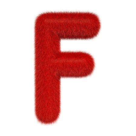 Colored, fluffy, hairy letter F. 3D rendering isolated on white background