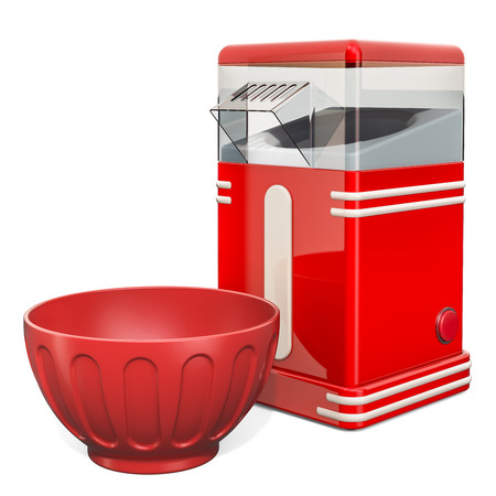 Red Popcorn Making Machine with red dish. 3D rendering isolated on white background
