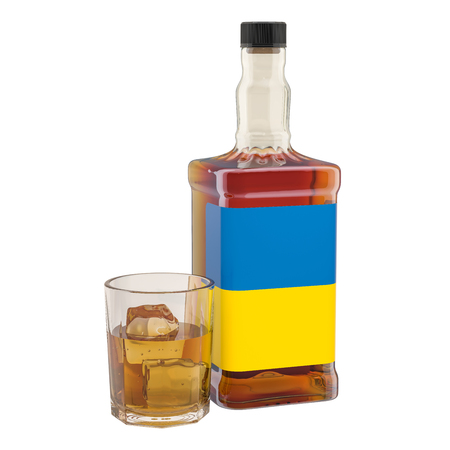 Production and consumption of alcohol drinks in Ukraine, concept. 3D rendering isolated on white background