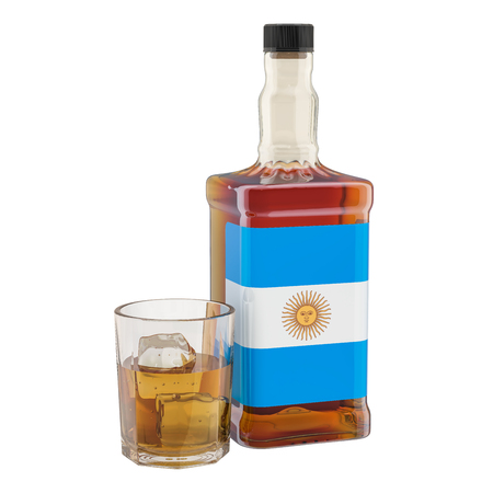 Production and consumption of alcohol drinks in Argentina, concept. 3D rendering isolated on white background Reklamní fotografie