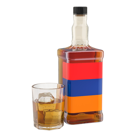 Production and consumption of alcohol drinks in Armenia, concept. 3D rendering isolated on white background