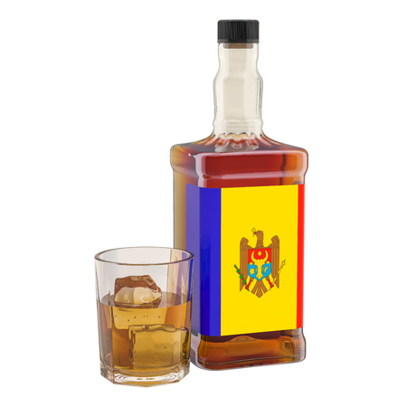 Production and consumption of alcohol drinks in Moldova, concept. 3D rendering isolated on white background