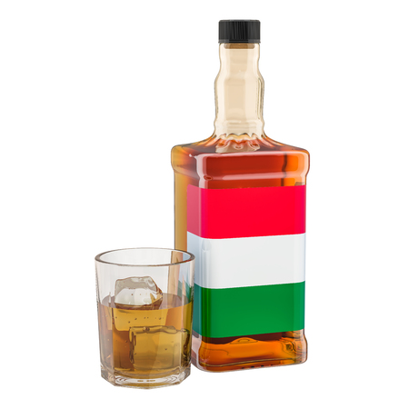Production and consumption of alcohol drinks in Hungary, concept. 3D rendering isolated on white background