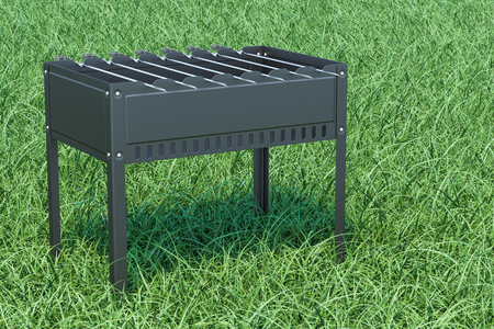 Mangal with skewers on the green grass, 3D rendering