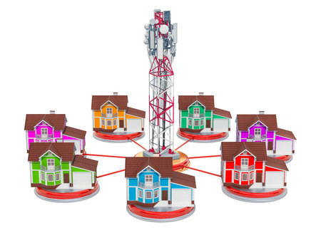 Mobile tower with houses around, mobile communication concept. 3D rendering isolated on white background Stock Photo