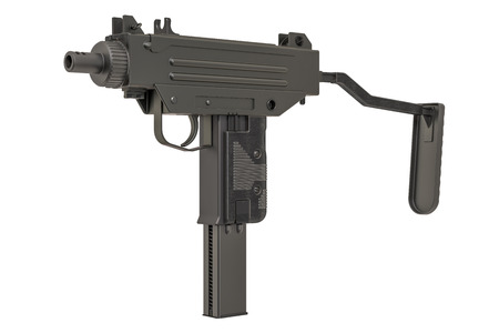 Submachine gun. 3D rendering isolated on white background
