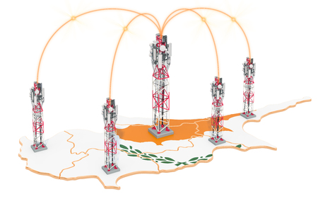 Mobile communications in Cyprus, cell towers on the map. 3D rendering isolated on white background