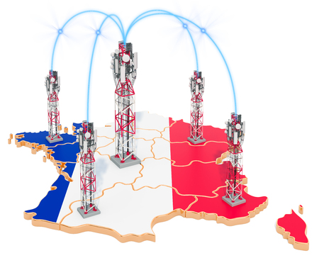 Mobile communications in France, cell towers on the map. 3D rendering isolated on white background