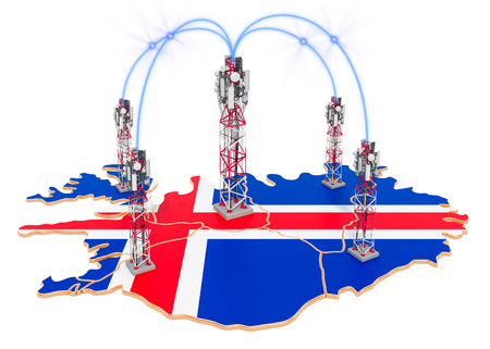 Mobile communications in Iceland, cell towers on the map. 3D rendering isolated on white background