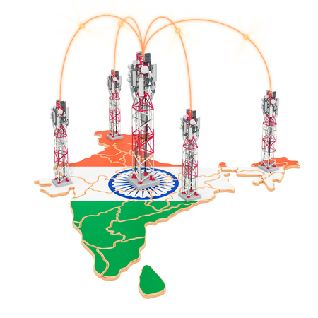 Mobile communications in India, cell towers on the map. 3D rendering isolated on white background
