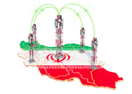 Mobile communications in Iran, cell towers on the map. 3D rendering isolated on white background