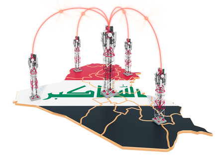 Mobile communications in Iraq, cell towers on the map. 3D rendering isolated on white background