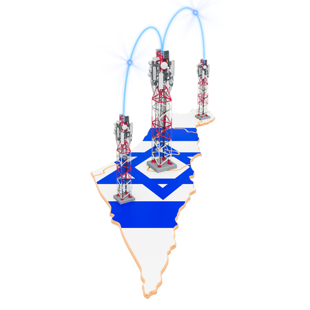 Mobile communications in Israel, cell towers on the map. 3D rendering isolated on white background
