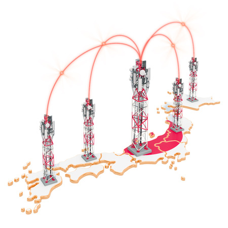 Mobile communications in Japan, cell towers on the map. 3D rendering isolated on white background