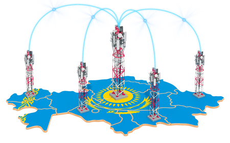 Mobile communications in Kazakhstan, cell towers on the map. 3D rendering isolated on white background