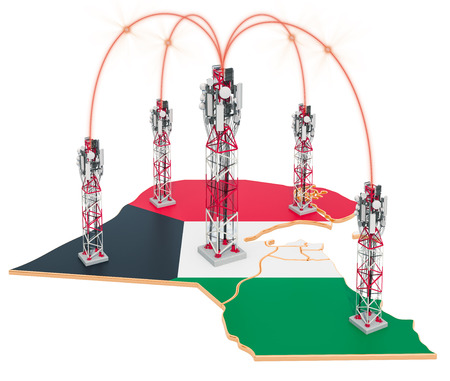 Mobile communications in Kuwait, cell towers on the map. 3D rendering isolated on white background