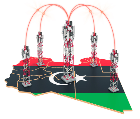 Mobile communications in Libya, cell towers on the map. 3D rendering isolated on white background Stock Photo