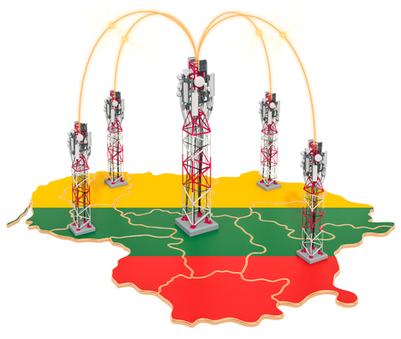 Mobile communications in Lithuania, cell towers on the map. 3D rendering isolated on white background Stock Photo