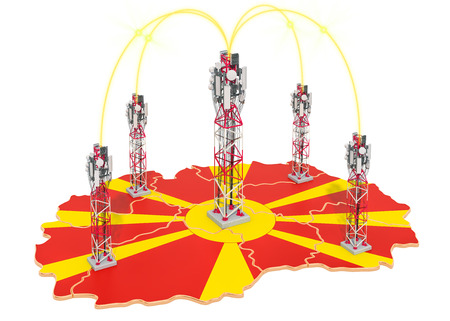 Mobile communications in Macedonia, cell towers on the map. 3D rendering isolated on white background