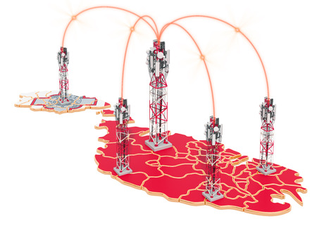 Mobile communications in Malta, cell towers on the map. 3D rendering isolated on white background