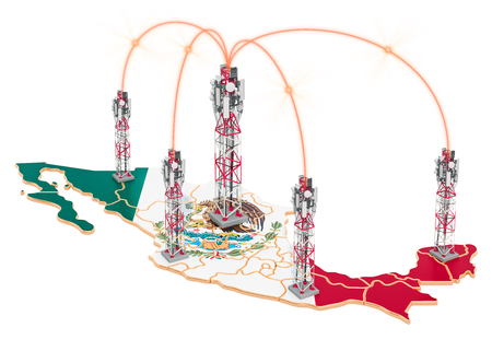 Mobile communications in Mexico, cell towers on the map. 3D rendering isolated on white background Stock Photo