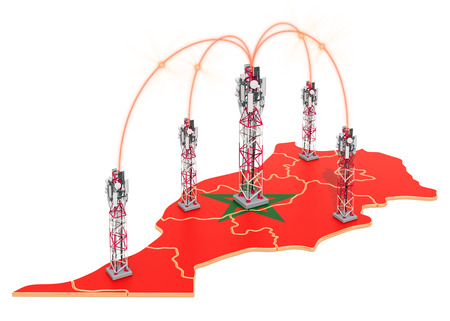Mobile communications in Morocco, cell towers on the map. 3D rendering isolated on white background Stock Photo