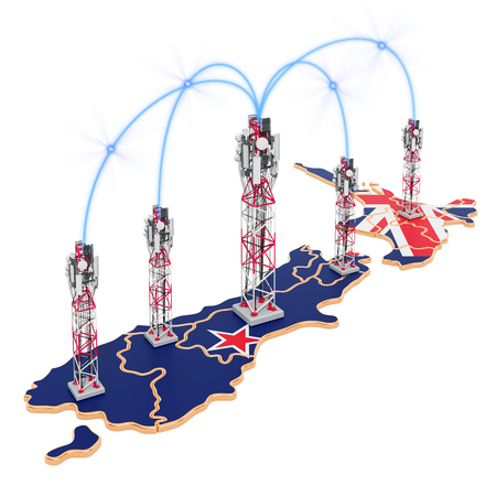 Mobile communications in New Zealand, cell towers on the map. 3D rendering isolated on white background Stock Photo
