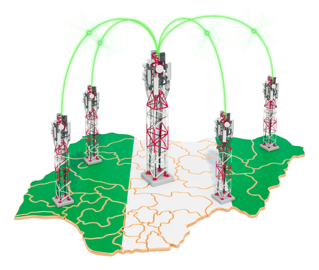 Mobile communications in Nigeria, cell towers on the map. 3D rendering isolated on white background