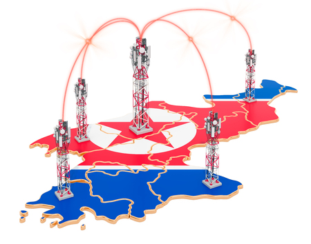 Mobile communications in North Korea, cell towers on the map. 3D rendering isolated on white background