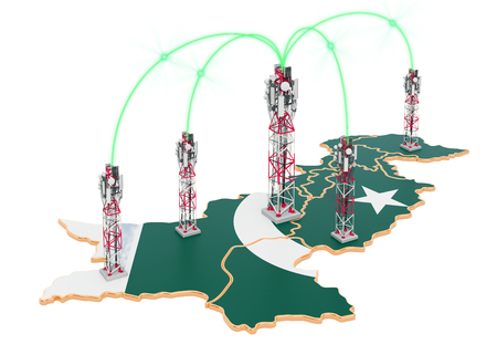 Mobile communications in Pakistan, cell towers on the map. 3D rendering isolated on white background