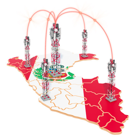 Mobile communications in Peru, cell towers on the map. 3D rendering isolated on white background Stock Photo