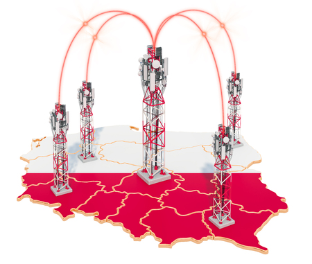 Mobile communications in Poland, cell towers on the map. 3D rendering isolated on white background