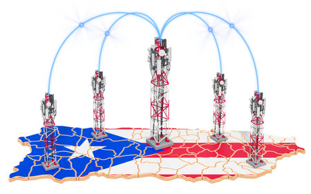 Mobile communications in Puerto Rico, cell towers on the map. 3D rendering isolated on white background Stock Photo