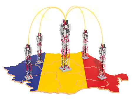 Mobile communications in Romania, cell towers on the map. 3D rendering isolated on white background Stock Photo
