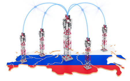Mobile communications in Russia, cell towers on the map. 3D rendering isolated on white background