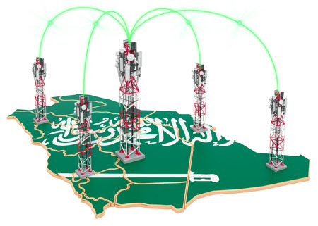 Mobile communications in Saudi Arabia, cell towers on the map. 3D rendering isolated on white background