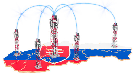 Mobile communications in Slovakia, cell towers on the map. 3D rendering isolated on white background