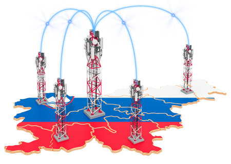 Mobile communications in Slovenia, cell towers on the map. 3D rendering isolated on white background Stock Photo