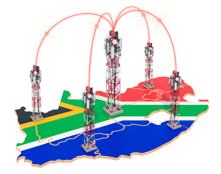 Mobile communications in South Africa, cell towers on the map. 3D rendering isolated on white background Stock Photo