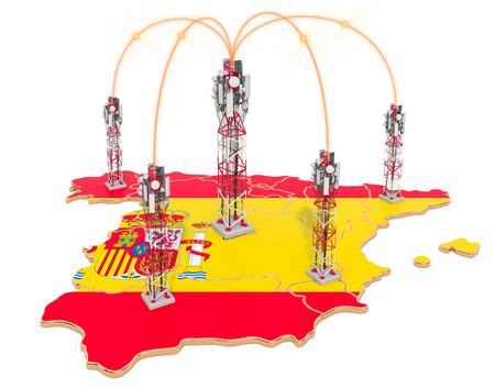 Mobile communications in Spain, cell towers on the map. 3D rendering isolated on white background